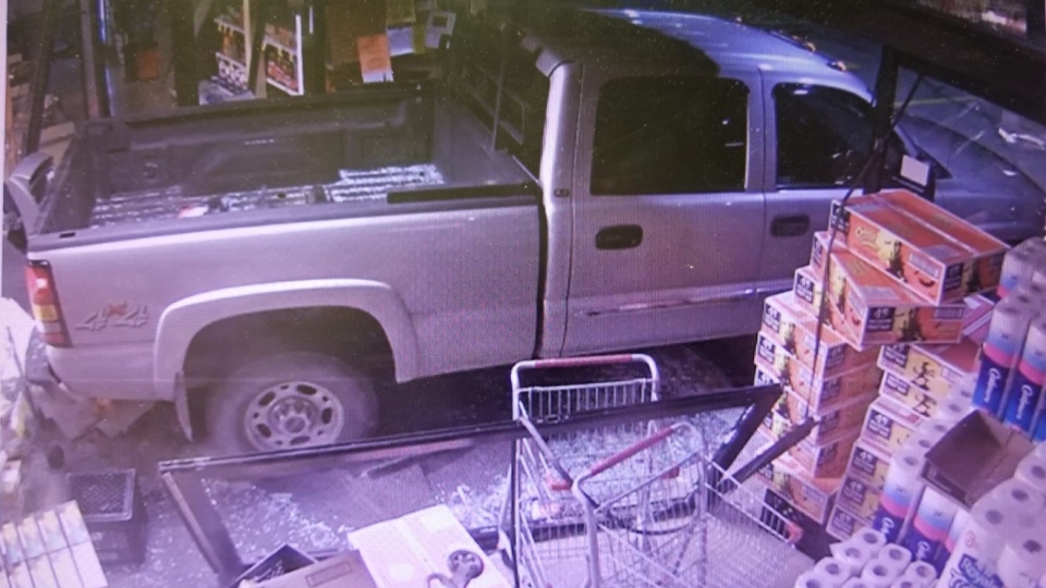 Security image of a pickup truck that smashed through a Hillsburgh store. (Courtesy: OPP)