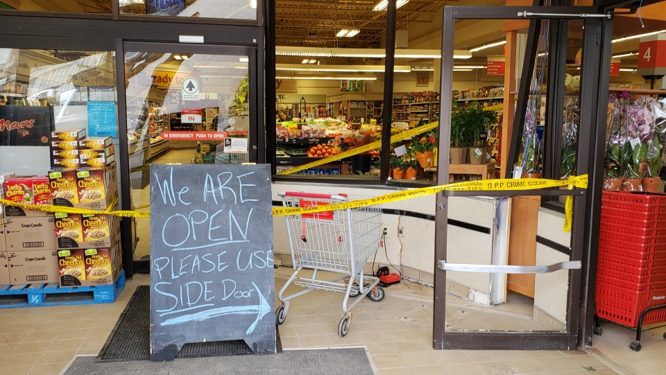 Inside Hillsburgh Foodland after a pickup smashed through the store. (Sept. 27, 2018)