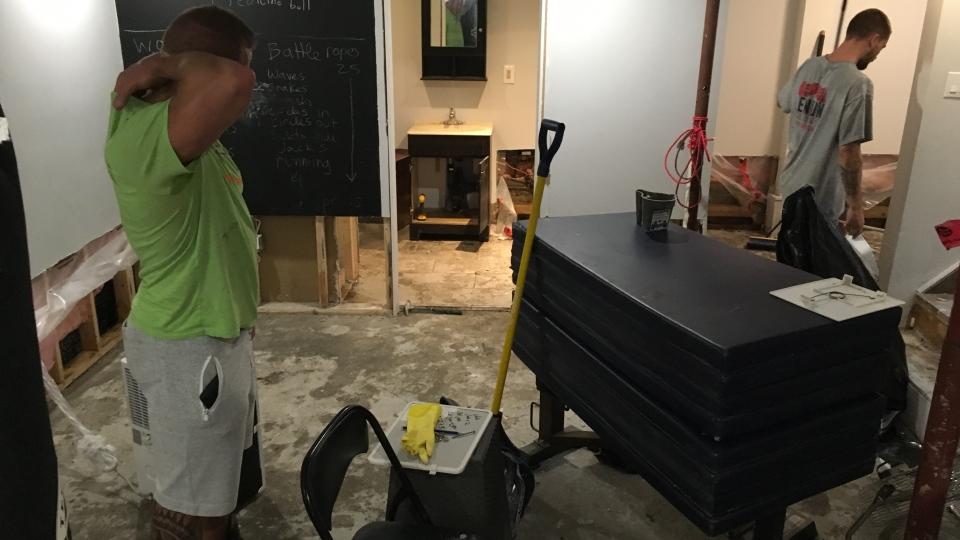 Residents cleanup after basement flooding in Windsor, Ont., on Wednesday, Sept. 27, 2018. (Chris Campbell / CTV Windsor)