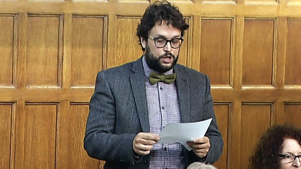 Bloc Quebecois MP Gabriel Ste-Marie speaks in the House of Commons in Ottawa, Thursday, Sept. 27, 2018.