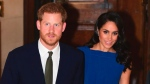 Britain's Prince Harry, left, and Meghan, the Duchess of Sussex arrive for '100 Days to Peace', an evening of music marking the centenary of the end of the First World War, at Westminster Central Hall, London, Thursday, Sept. 6, 2018. (Geoff Pugh/Pool Photo via AP)