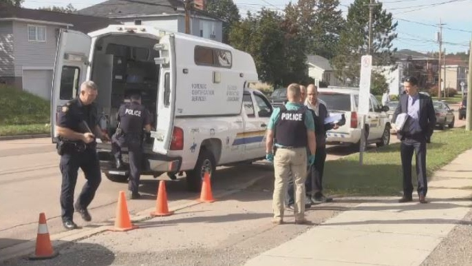 Police investigate a suspicious death on West Lane in Moncton on Sept. 28, 2018.