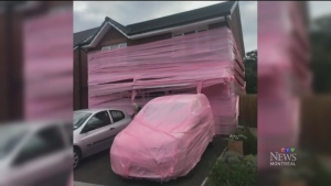 Friends of newlyweds wrapped their home in pink pl