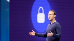In this May 1, 2018, file photo, Facebook CEO Mark Zuckerberg makes the keynote speech at F8, Facebook's developer conference in San Jose, Calif. (AP Photo/Marcio Jose Sanchez, File)