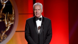 In this April 30, 2017 file photo, Alex Trebek speaks at the 44th annual Daytime Emmy Awards at the Pasadena Civic Center in Pasadena, Calif. (Photo by Chris Pizzello/Invision/AP, File)