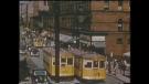 Old streetcar track on Spring Garden peaks out from under asphalt.
