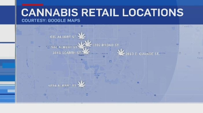 Pot shops in Regina (Google Maps)
