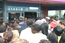 Crowds surged against the entrance of the Mandarin restaurant at 200 Queen's Plate Drive in Rexdale on Wednesday, July 1, 2009.