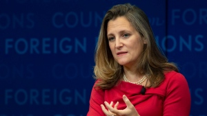 Foreign Affairs Minister Chrystia Freeland participates in a discussion at the Council on Foreign Relations in New York, Tuesday, Sept. 25, 2018. THE CANADIAN PRESS/Adrian Wyld