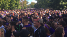 Police keep Western University students at bay during FOCO in London, Ont. on Sept. 29, 2018. (Brent Lale / CTV London)