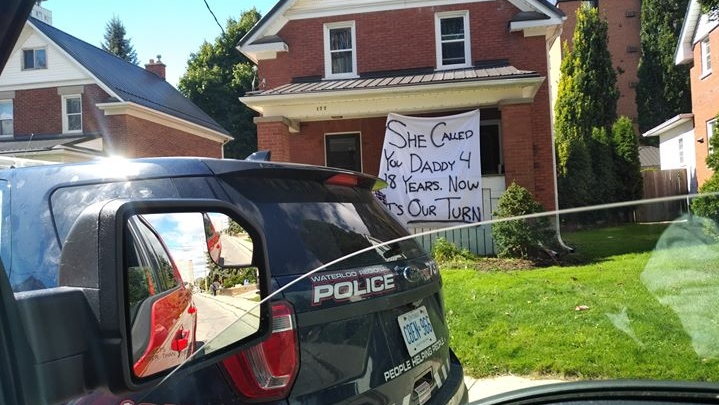 A sign displayed on a house in Waterloo