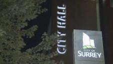 Surrey City Hall on Friday night.