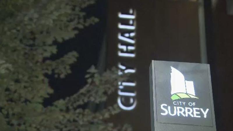 Surrey City Hall at night