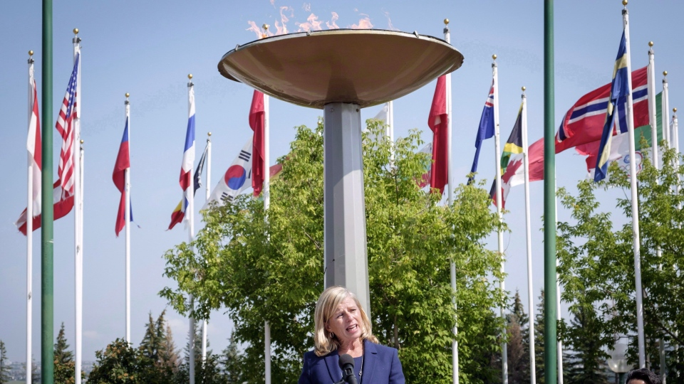 Mary Moran speaks during a press conference after being named the new Calgary 2026 Olympic bid committee CEO in Calgary, Alta., Tuesday, July 31, 2018. THE CANADIAN PRESS/Jeff McIntosh