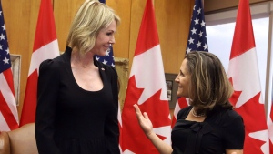 "United States Ambassador to Canada Kelly Craft, left, meets with Canadian Foreign Affairs Minister Chrystia Freeland in Ottawa, Monday, October 23, 2017. Donald Trump's Canadian envoy is coming to the defence of Canada ""smart"" and ""articulate"" foreign affairs minister - one day after the U.S. president suggested he didn't like Chrystia Freeland's NAFTA negotiating style. THE CANADIAN PRESS/Fred Chartrand"