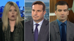 MPs Marco Mendicino, Michelle Rempel and Matthew Dube on CTV's Question Period on Sunday September 30, 2018. (CTV News)
