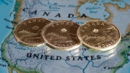Canadian dollar coins are displayed on a map of North America on January 9, 2014 in Montreal. THE CANADIAN PRESS/Paul Chiasson