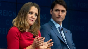 Prime Minister Justin Trudeau looks on as Foreign Affairs Minister Chrystia Freeland responds to a question during a panel discussion at the Council on Foreign Relations in New York, Tuesday, Sept. 25, 2018. THE CANADIAN PRESS/Adrian Wyld