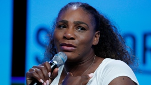 In this Sept. 14, 2018, file photo, tennis star Serena Williams speaks in Las Vegas. (AP Photo/John Locher, File)