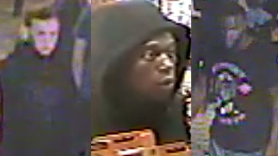 Three suspects wanted in connection with the beating of a 27-year-old man near a bar in Toronto's Annex neighbourhood. (Toronto police handout)