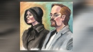 October 1, 2018 courtroom sketch of Jennifer and Jeromie Clark. The couple face charges in connection with the November 2013 death of their 14-month-old son. (courtesy: Sharon Sargent)