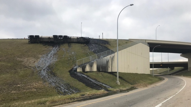 Truck Loses Tanks Of Tar On Ramp Cleanup Crew Enroute