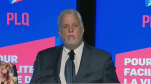 Liberal leader Philippe Couillard makes his concession speech on Oct. 1, 2018 after his party was defeated in a provincial election.