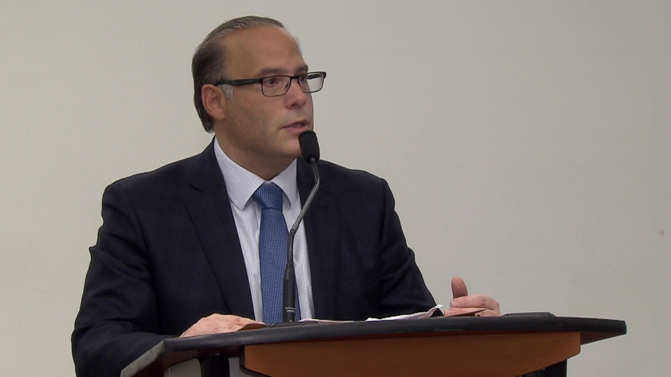 Surrey's Chief Elections Officer Anthony Capuccinello speaks on Oct. 1, 2018.