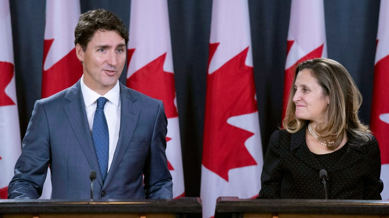 Prime Minister Justin Trudeau and Minister of Foreign Affairs Chrystia Freeland hold a press conference regarding the United States Mexico Canada Agreement (USMCA) at the National Press Theatre, in Ottawa on Monday, Oct. 1, 2018. THE CANADIAN PRESS / Sean Kilpatrick