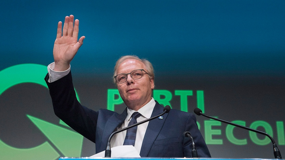 Parti Quebecois leader Jean-Francois Lisee waves to supporters at PQ headquarters in Montreal, Monday, October 1, 2018, on election night in Quebec. (THE CANADIAN PRESS/Graham Hughes)