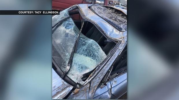 Damage to the car Jaz Richards was driving on September 21, 2018 near Coalhurst (courtesy: Tacy Ellingson)