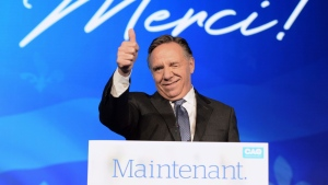 Coalition Avenir du Quebec leader and premier-elect Francois Legault speaks to supporters from the podium as he celebrates after winning the Quebec Provincial election in Quebec City on Monday, October 1, 2018. THE CANADIAN PRESS/Ryan Remiorz