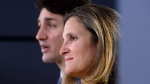 Prime Minister Justin Trudeau and Minister of Foreign Affairs Chrystia Freeland hold a press conference regarding the United States Mexico Canada Agreement (USMCA) at the National Press Theatre, in Ottawa on Monday, Oct. 1, 2018. THE CANADIAN PRESS/Sean Kilpatrick