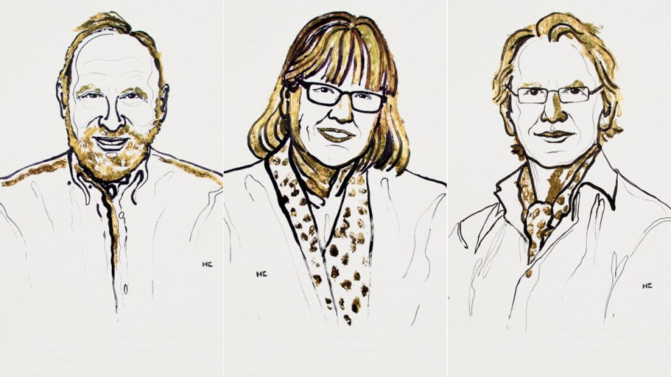 Arthur Ashe, Donna Strickland and Gérard Mourou are seen in this composite of sketches on the Nobel Prize in physics announcement. (Ill. Niklas Elmehed. © Nobel Media)
