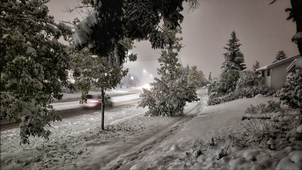 Parts of Calgary have been hit with up to 25 centimetres of snowfall overnight. (Christopher Boyse/Twitter)