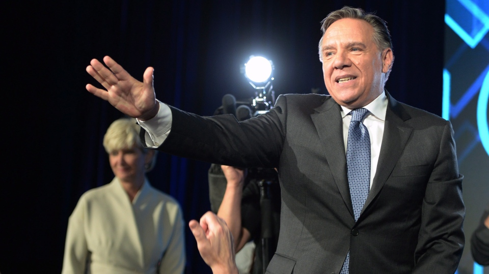 Coalition Avenir du Quebec leader and premier-elect Francois Legault arrives on stage to address supporters as he celebrates after winning the Quebec Provincial election in Quebec City on Monday, October 1, 2018. THE CANADIAN PRESS/Ryan Remiorz