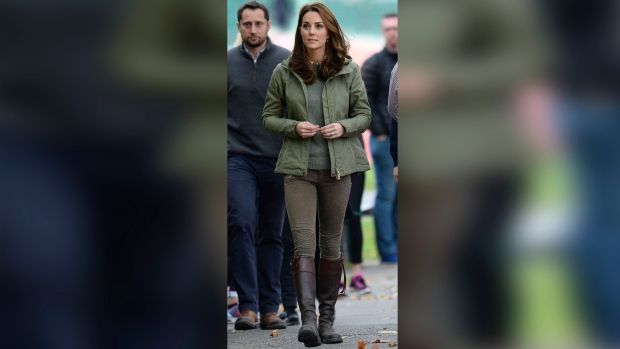 Kate, Duchess of Cambridge, arrives at the Sayers Croft Forest School and Wildlife Garden at Paddington Recreation Ground, London, Tuesday, Oct. 2, 2018. (Kirsty O'Connor/PA via AP)