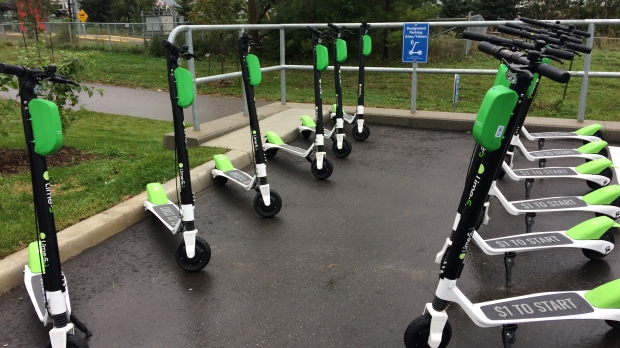 Lime scooters on display in Waterloo