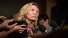 Ontario Deputy Premier Christine Elliott talks with journalists following Question Period at the Ontario Legislature in Toronto on Wednesday, August 1, 2018.(THE CANADIAN PRESS/Chris Young)