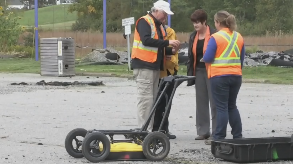 Officials in Oxford, N.S. were given their first look underground with ground-penetrating radar which help uncover as new cracks from the sinkhole.