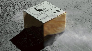 This computer graphic image provided by the Japan Aerospace Exploration Agency (JAXA) shows the Mobile Asteroid Surface Scout, or MASCOT, lander on the asteroid Ryugu. (JAXA via AP)