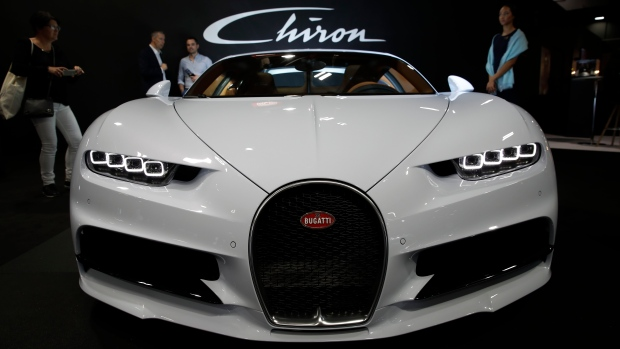 176a9edea651 A Bugatti Chiron is on display at the Auto show in Paris