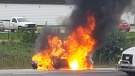 Car fire on the 401 in London Ont. on Oct. 3, 2018. (Diego Camargo)