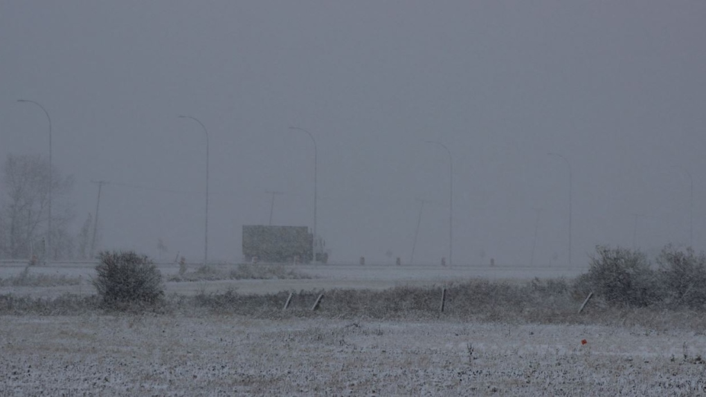 Snow at the Regina airport