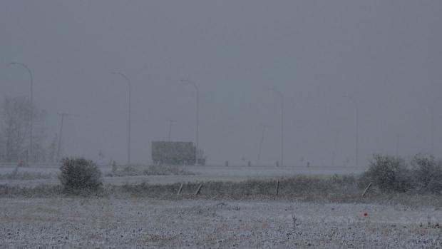 Snow at the Regina airport
