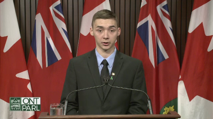 Noah Irvine spoke to Queen's Park on Wednesday, urging for more attention to mental illness.