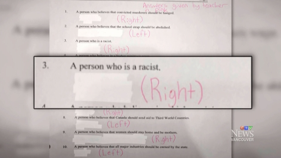 Matt DeFouw says this worksheet was given to students at Valleyview Secondary School in Kamloops, B.C.