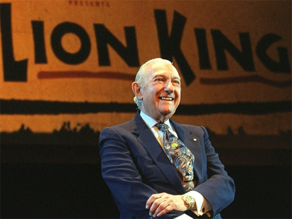 Canadian theatre magnate Ed Mirvish smiles at an event announcing the Canadian premiere of the stage musical of Disney's 'The Lion King' in Toronto in 1999. (CP / Kevin Frayer)