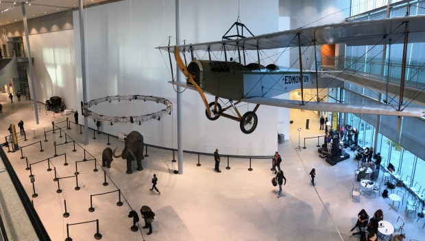 A panoramic image shows the Royal Alberta Museum lobby, with  the CTV News set on the right side. CTV News at 5 and 6 broadcasted live from the lobby on opening day, October 3, 2018.