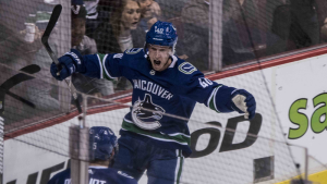 The Vancouver Canucks defeated the Calgary Flames 5-2 in their season opener Wednesday, with rookie Elias Pettersson racking up a goal and assist in his first-ever NHL game. (Photographer: Anil Sharma)